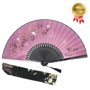 """Hand Held Folding Fan for Women - OMyTea """"Leaf Butterfly"""" Chinese Japanese Oriental Asian Style - for Wedding, Dancing, Church, Party, Gifts"""