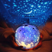 Star Night Light for Children, Universe Projection Lamp for Kids' Bedroom, Romantic Rotating Star Sea LED Lamp for Baby Nursery, Best Birthday Christmas Gifts - 5 Sets of Film