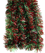 Elegant Hanging Holiday Tinsel Garland 7.6cm Thick x 3.7m - Green and Red Waves