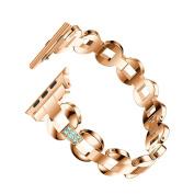 Komise Luxury Alloy Crystal Chain Pattern Bracelet Watch Strap for Apple Watch Series 3 38MM,About 135-220MM