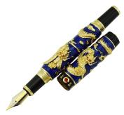 Jinhao Double Dragon Fountain Pen Medium Nib with Ink Refills Converter , Blue Cloisonne Craft Gift Pen