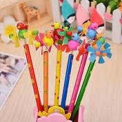 6PCS Creative wood pencils, windmill series,HB ,design is random