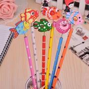 6PCS Creative wood pencils, cartoon series,HB ,design is random