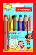 Swan STABILO Woody 3 in 1 Chunky Crayons - Pack of 6