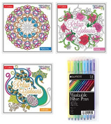 3 Adult Colouring Books Great Anti Stress Calm Therapy with 18 Quality Fibre Pens