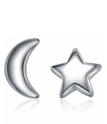 Aomiu S925 Silver Mini Star and Crescent Moon Twilight Style Jewellery for Women Gift