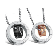 AMDXD Couple Necklaces Keep me in your heart Engraved Heart CZ Black Rose Gold Stainless Steel Pendants