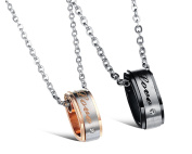 AMDXD Couple Necklaces Matte Bicolor Love Engraved CZ Ring Black Rose Gold Stainless Steel Pendants