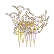 Clearine Women's Wedding Bridal Crystal Filigree Side Butterfly Hair Comb