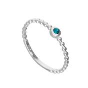 Sterling Silver & Aquamarine CZ Crystal March Birthstone Beaded Band Ring I - U