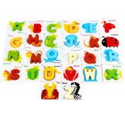Wooden Puzzle Learning Toys ABC Letters Alphabet Puzzles Matching Card Games Toys Gifts for Toddlers and Kids