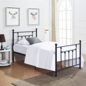 Heavy Duty Twin Bed Frame, VECELO Metal Platform Mattress Foundation / Box Spring Replacement with Headboard Victorian Style