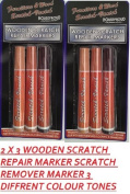 2 X 3 WOODEN WOOD SCRATCH REPAIR MARKERS SCRATCH REMOVER MARKERS 3 DIFFRENT COLOUR TONES IDEAL FOR FURNITURE WOOD SURFACE
