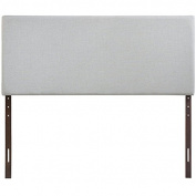 Simple Relax 1PerfectChoice Region Wood Linen Upholstered Queen Headboard In Sky Grey