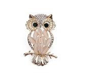 jileSM Retro Owl Rhinestone Crystal Brooch Pin Gift - Gold