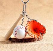 EXOH Creative Modern Mini Baseball Bat Glove Set Keychain Keyring Handbag Pendant - Orange