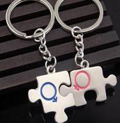 Pengmma Puzzle Style Couple Car Keychain Bag Pendant