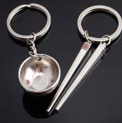 Pengmma Bowl Chopsticks Shaped Couple Keychain Key Ring