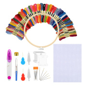 Embroidery Starter Kit Cross Stitching Sewing Kit Includes 23cm Bamboo Embroidery Hoop, 50 Colour Threads, 30cm by 46cm Classic Reserve Aida and Cross Stitching Tool Kit