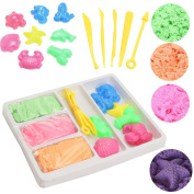 FUNTOK Motion Sand Magic Play Sand Colourful Soft Sludge Never Dry Non Toxic DIY Moulding Sand Toys Indoor Sculpts Castle Craft Toy