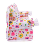 Simplefirst Mini Flower Sofa Couch +2 Cushions For Doll House Furniture Accessories Kids Toy Gift