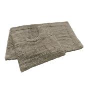 Super Soft 100% Cotton Pile Taupe Bath Mat Set