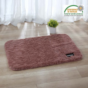 DADA Luxury Soft Absorbent Non Slip Bathroom Mat Fluffy Shaggy Rug For Living Room 60*90cm Brown