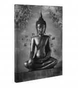 Grey Buddha Canvas Wall Art Print Beautiful Picture For Meditation Size 50cm X 80cm