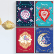 Inspirational Quotes For Crystal People, Set of FOUR, 11X17, Magical Positive Thinking Posters, Boho Chic Wall Decor Ready To Hang On Wall. Get Inner Peace and Motivation.
