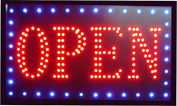 = OPEN = RECTANGULAR THE ORIGINAL SSS® LED SIGN BRIGHT NEON PROFESSIONAL POWERFUL ANIMATED FLASHING DISPLAY HANGING CHAIN INCLUDED SIGNS 45mm x 25mm x 2mm