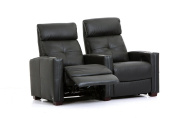 Cloud XS850 - Octane Seating - Home Theatre Chairs - Black Bonded Leather - Manual Recline - Straight Row of 2 Seats - Space Saving Design
