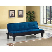 Block Futon Adjustable Sofa, Blue, Wood Frame Construction, Choice Of Available 2-Toned Fabric Upholstery Colour, Bundle With Ebook For Home Furniture