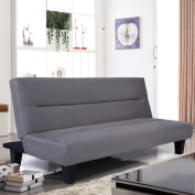 Microfiber Futon Folding Couch bed 15cm Sleep Recliner Lounger Grey
