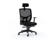 BDI TC223 Mesh Back Task Chair with Headrest and Fabric Seat Black Fabric Seat/Black Mesh Back/Black Base