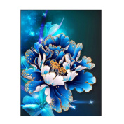 TIREOW 5D Modern Art Style Beautiful Vivid Handmade Embroidery Full Drill Diamond Blue Peony Painting Cross Stitch Blue 1#