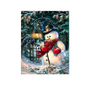 Cute Christmas Snow Man Cross Stitch Painting DIY 5D Diamond Embroidery
