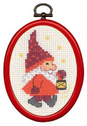 Elf with Lamp Framed Cross Stitch Kit