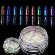 MZP 8 bottle New Nail Art Chameleon Glitter Powder Nail Art Starry-sky & Mirror Effect Nail Art DIY Beauty Sparkling Powder Glitter Decoration BS28-35