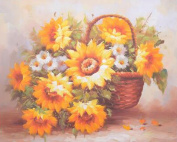 Sunflower basket DIY 5D Diamond Painting Full Embroidery Cross Stitch Blooming Flower Painting Home Decoration Kits Diamond Mosaic Wall picture , circular diamond , 50*40 cm
