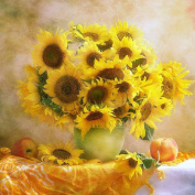 Sunflower Vase DIY 5D Diamond Painting Full Embroidery Cross Stitch Blooming Flower Home Decoration Kits Diamond Mosaic Wall picture Yellow , square diamond , 70*70 cm