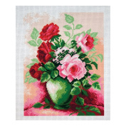 Collection D'Art - Printed Aida Fabric - Roses in Vase
