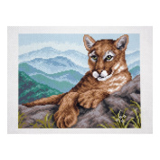Collection D'Art - Printed Aida Fabric - Cougar in Mountains