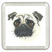 Heritage Crafts Little Friends Cross Stitch Coaster Kit - Pug