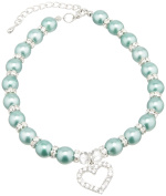 Mirage Pet Products 8 to 25cm Heart and Pearl Necklace, Medium, Emerald Green