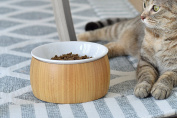TigerLi Raised Cat Bowl with Nature Bamboo Stand With Polyresin Bowl 15cm , Beautiful and Functional Design Pet Feeder
