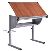 Drawing Desk Drafting Painting Table Durable Steel And Wooden Construction Art And Craft Hobby Studio Architect Work Foldable Adjustable Workstation Metal Shelf Tools Storage Two Rulers At Table Edge