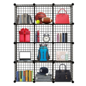 Homezest Closet Organiser Storage Racks Sets, 12 Cube Shelf Cabinet Wire Grids Panels for livingroom