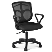 go2buy Mesh Office Computer Chair Home Desk Swivel Chair Black Collection Mid-Back w/ Clothing Hanger