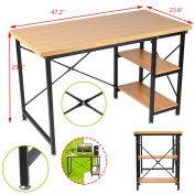 Coldcedar Computer Desk with 2 Open Boards 120cm Wood Hard Simple Compact Morden Style Writing Desk with Metal Legs as Office Desk Study Table Workstation for Home Office DIY