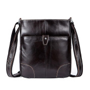GTUKO Genuine Leather Bag Shoulder Crossbody Bags Small Flap Fashion Messenger Bag Men Leather Brand Mens Shoulder Bags , Deep Coffee